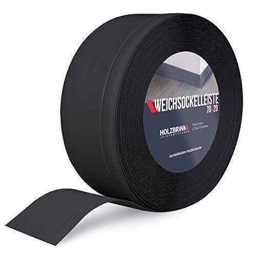 HOLZBRINK Weichsockelleiste Schwarz Knickleiste ohne Klebestreifen, Material: PVC, 70x20mm, 5 Meter