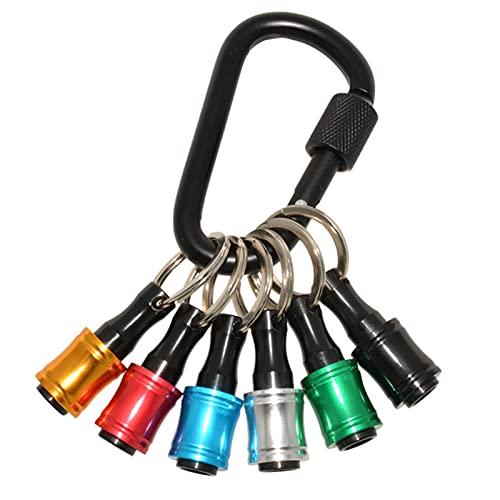 Vtops Soporte para llaves para llavero, juego de 6 piezas de 1/4 pulgadas adaptador de tornillo con llavero de liberación rápida mango de taladro para trabajadores