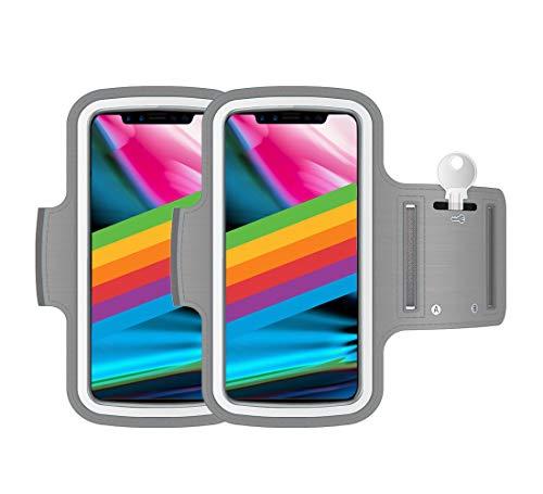 "AR-Gun Brazalete Deportivo Pack 2 uds valido para Smartphones de hasta 6.8"" Compatible con iPhone 11 Pro MAX XS MAX 11 Samsung Galaxy S20 Plus S10 Plus S9 Plus S8 Plus (Gris)"