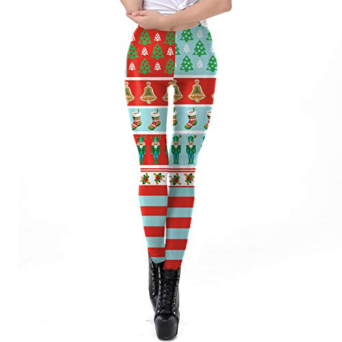 Volwassenen dames stretch tight pantalon Pants kerstkostuumkaart klein element leggings