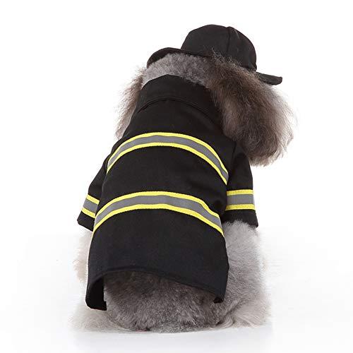 Whiie891203 Haustier-Kleidung, für Hunde, Welpen, Feuerwehr-Kostüm, Jacke, Hut, Haustier-Zubehör, Polyester, S