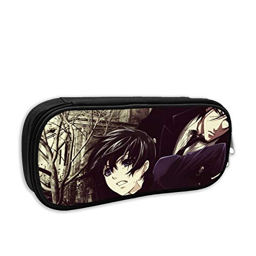 Black Butler-Couldn't Save You from The Start Anime Pen Bag Pencil Case Student Stationery Pouch Bag Office Storage Organizer Coin Pouch Cosmetic Bag(8.25 X 3.53 X 1.96 Inches) Black