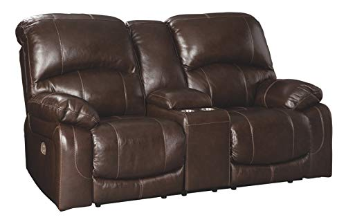 Signature Design by Ashley Hallstrung Power Reclining Loveseat Console Adjustable Headrest Chocolate