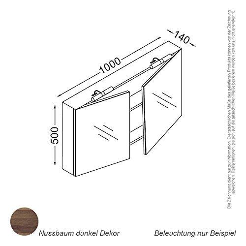 Kzoao Spiegelkast 100 cm Walnoot