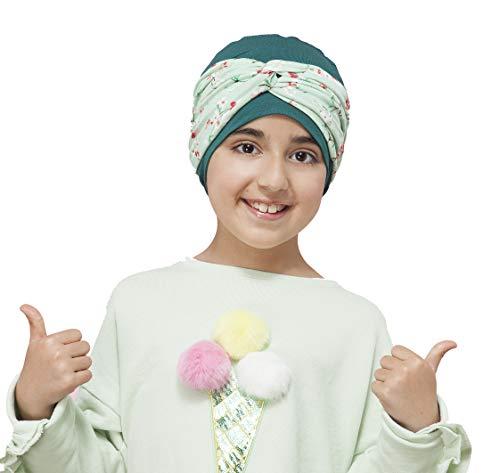 gorro + turbante pañuelo oncologico para mujeres con cancer quimioterapia alopecia green forest flower ella