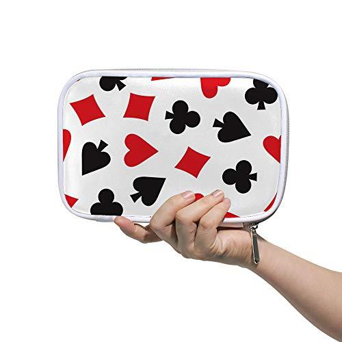 Ruchen Estuche grande para lápices de cosméticos, bolsa para jugar a la tarjeta, pala, corazones y diamantes, flor de ciruelo, gran capacidad, bolsa de papelería