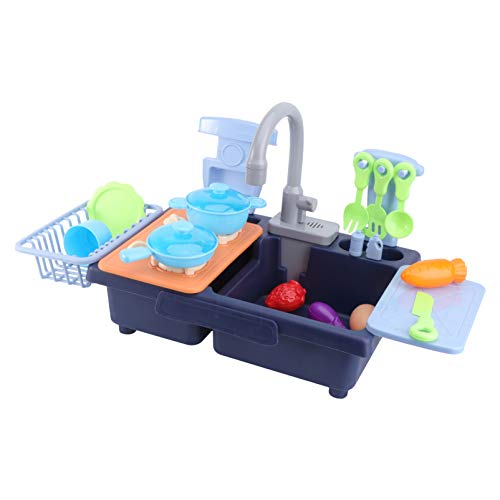 Toddmomy Aanrecht Speelset Met Stromend Water Borden Borden Bestek Set Elektrische Vaatwasser Speelspeelgoed Fantasiespel Keukenaccessoires Speelgoed Voor Jongens Meisjes
