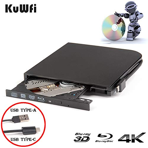 KuWFi 3D 4K Blu-Ray Player External DVD Drive for Laptop USB3.0 Type-A & Type-C interfaces Portable Slim Automatic Slot-Loading CD/DVD-RAM Superdrive Burner with High Speed Data for PC Windows Mac OS