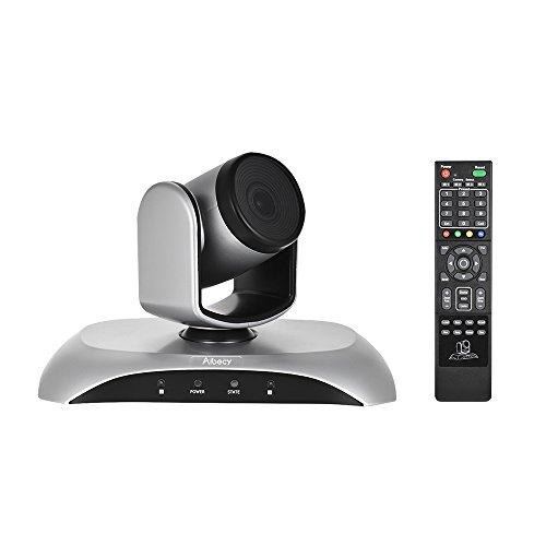 Aibecy-Cámara de Conferencia 1080P HD, USB Plug & Play Zoom 3X Rotación de 360 ° con Adaptador de Control Remoto para videoconferencias Capacitación Enseñanza