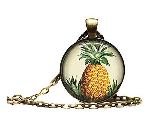Sunshine Collar de piña, joyería de Frutas, Tiki Hawaii Tropical Island Art Colgante, cúpula de Vidrio Ornamentos, Regalos para Ella