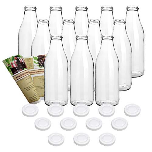 gouveo 12er Set Saftflasche 1.000 ml inkl. Verschluss to 48 Weiß, Likörflaschen, Schnapsflaschen, Essigflaschen, Ölflaschen