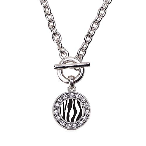 Inspired Silver - Zebra Print Toggle Charm Necklace for Women - Silver Circle Charm 18 Inch Necklace with Cubic Zirconia Jewelry