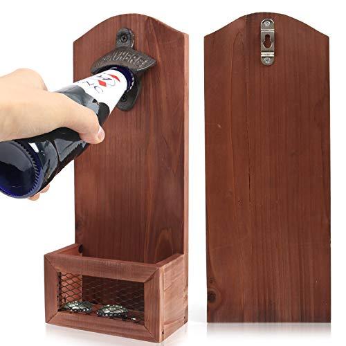 BAYINBROOK Flaschenöffner Wandmontage - Bieröffner Wand Bottle Opener Wandflaschenoeffner, Vintage-Holz-Flaschenöffner für Bar, Küche, Wohnung, Terrasse