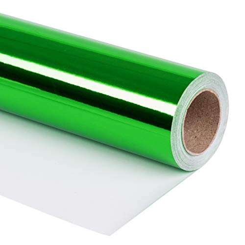 RUSPEPA Green Metallic Wrapping Paper - 81.5 Sq Ft - Solid Color Paper Perfect for Wedding,Birthday,Christmas,Baby Show - 30 inches x 32.8 feet
