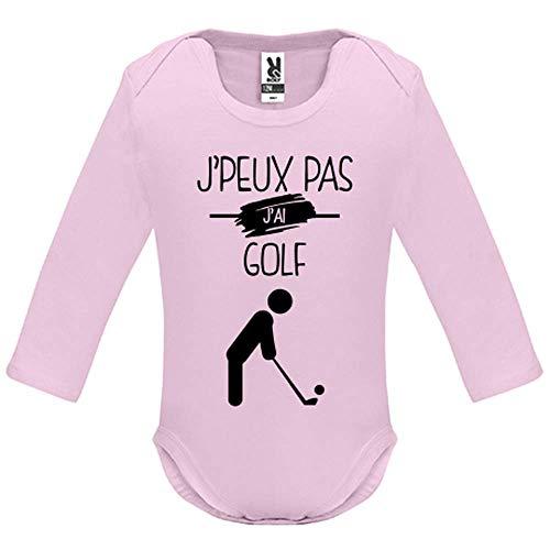 LookMyKase Body bébé - Manche Longue - J Peux Pas j AI Golf - Bébé Fille - Rose - 6MOIS