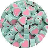 GGXXS Colores Mezclados Amor Forma Clay Spacer Beads Polymer Clay Beads para la fabricación de Joyas Bricolaje Accesorios Hechos a Mano (Color : 01, Size : 30pcs)