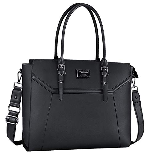 MOSISO 15.6-17 inch Women Laptop Tote Bag with Shockproof Compartment, Black