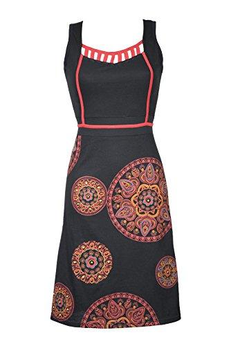 Ultra feminines Damen Kleid/Freizeitkleid mit wunderschönem Ethno Mandala Muster und einzigartigem V-Ausschnitt - Casual Chic - AVA (L/XL)