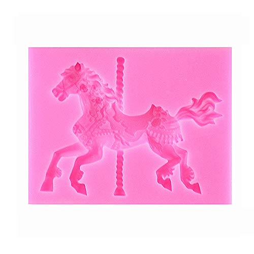Silicone 3D Carousel Horse Chocolate Mould Ice Cube Tray Non-Stick Fondant Mould for Decorating Cakes Chocolate Candy Jelly Baking Kitchen etc
