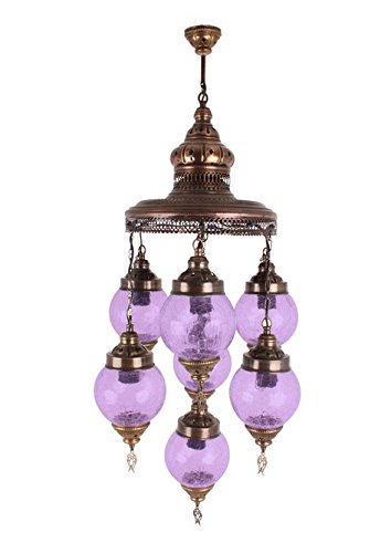P21012-7H 7-light Turkish Violet Pendant Art-Win Lighting