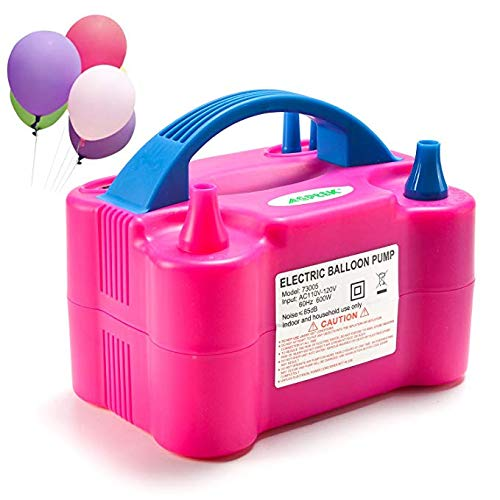 AGPtek Portable Rose Red Two Nozzle High Power Air Blower Electric Balloon Inflator Pump For Party