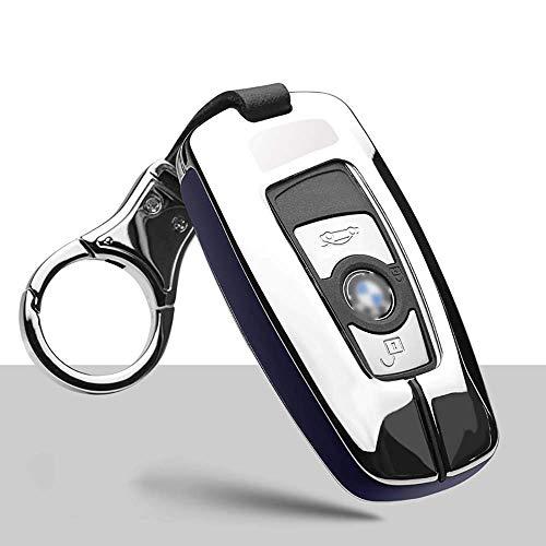 XINERJIA Funda Protectora Completa para Llavero de Coche de aleación de Zinc de Cuero para BMW 3 5 7 Series Gt1 X1 X3 X4 X5 X6 Llavero Inteligente de 3 Botones Control Remoto Protector de la Caja de