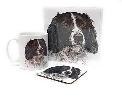 Ensemble 3 pièces noir Springer Spaniel chiot fabriqué en Royaume-Uni Tasse en céramique mug pot accueil carte d'anniversaire Dessous De Verre