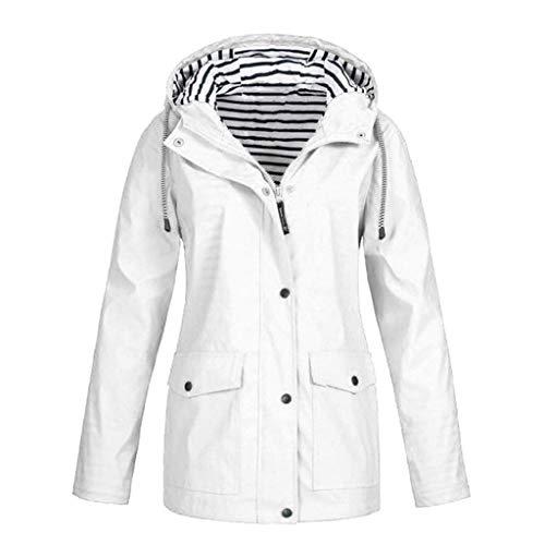 DENGZI Plüschmantel Feste Regenjacke für Damen Outdoor Jacken Wasserdichter Regenmantel mit Kapuze Winddicht