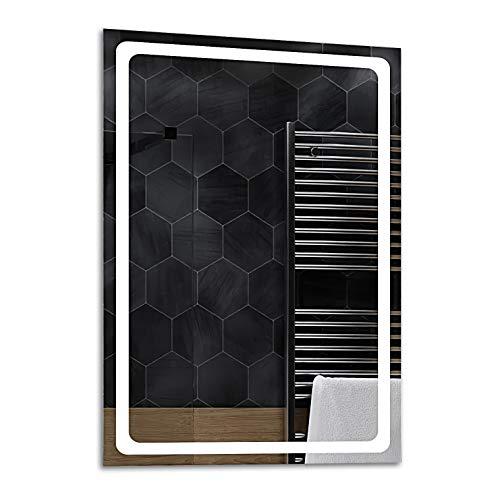 ALASTA® Espejo | Espejo LED de Pared | Diferentes tamaños del Espejo | Houston | Espejo LED con Luminoso LED | Estación meteorológica - Seleccione Tipo