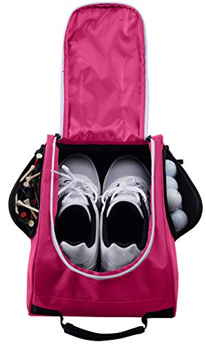 Athletico Golf Shoe Bag - Zippered Shoe Carrier Bags with Ventilation & Outside Pocket for Socks, Tees, etc....