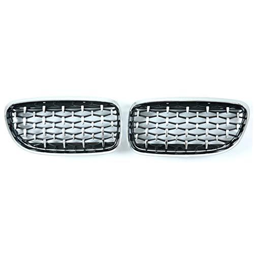 YRRC-ZT Parrillas, 2 Unids/Set Car Parrill Diamond Grills Estilo Meteoro para BMW E90 E91 3 Series 2009-2012 Accesorios para Automóviles Plata Y Negro,All Silver