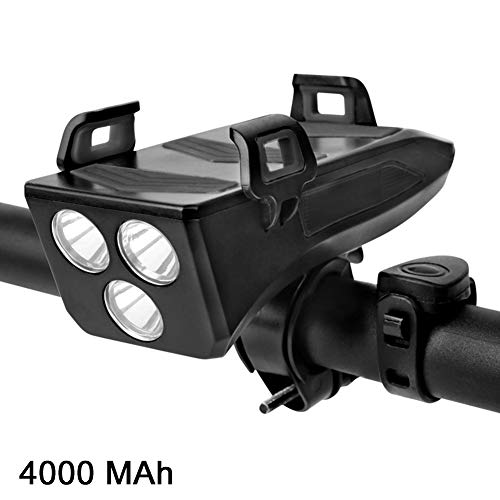 jtxqy LED 4 in 1 wasserdichtes Fahrrad-Frontlicht mit Fahrradhorn-Telefonhalter Powerbank Cycling