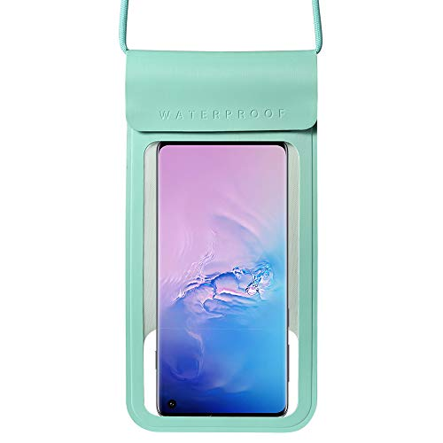 Waterproof Phone Case Universal Dry Bag Pouch Compatible for Samsung Galaxy S10+ S9+ / A20 A30 A50 M30 / A7 A8+ J8 / Nokia 7.2 / HTC U12 Life/OnePlus 7T / BlackBerry KEY2 / BLU Bold N1 (Aqua)