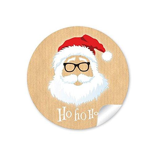 24 STICKER: 24 Weihnachtsaufkleber in NATUR zu Weihnachten/Adventskalender/Geschenke mit lustigem Hipster Weihnachtsmann/Nikolaus
