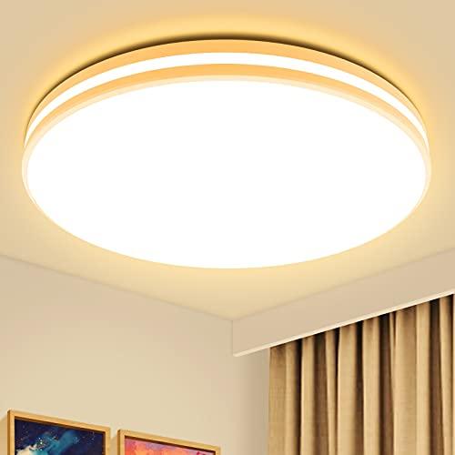 Airand - Lámpara de techo LED de bajo perfil 3000 K, luz de techo redonda para dormitorio, cocina, baño, IP44, impermeable, 20 W,...