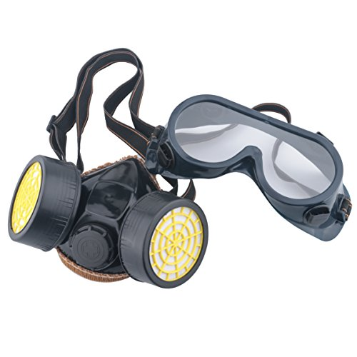 Leeko Industrial Chemical Gas Anti-Dust Spray Dual Cartridge Respirator Paint Filter Mask Goggles Set, Black