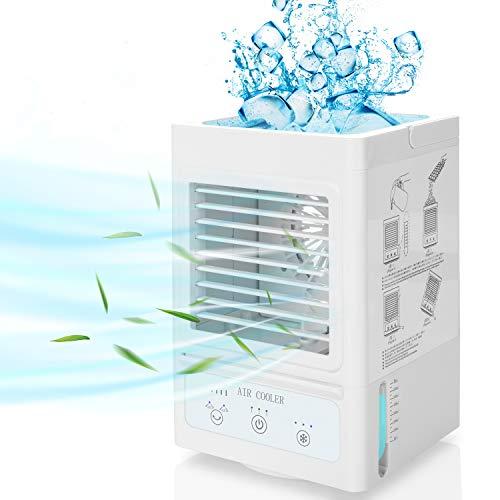 Air Cooler,COMLIFE 4 in 1 Mini Mobile Aircooler Fan mit 5000mAh Akku, Tragbares Air Cooler mit 3 Kühlstufen/Geschwindigkeiten, 60°/ 120°Auto Oszillation, Luftküler | Luftbefeuchter | Mini Lüfter