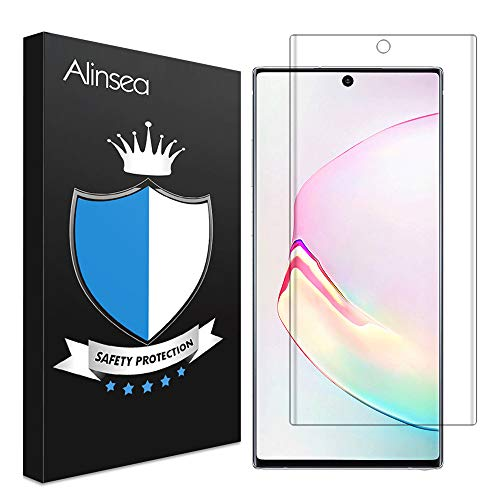 Alinsea Screen Protector Compatible for Samsung Galaxy Note 10 Tempered Glass [Fingerprint Sensor Compatible] [Full Adhesive] [3D Glass] [Case Friendly]