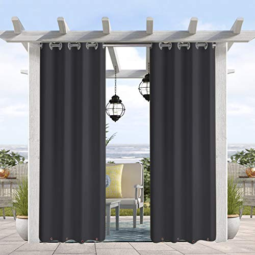 """Pro Space Weatherproof Outdoor Curtains Water & Wind Resistant Outdoor Patio Curtain, Thermal Insulated Grommets on Top and Bottom, Privacy Panel Drapery for Patio Porch , 50"""" W x 108"""" L, Carbon Grey"""