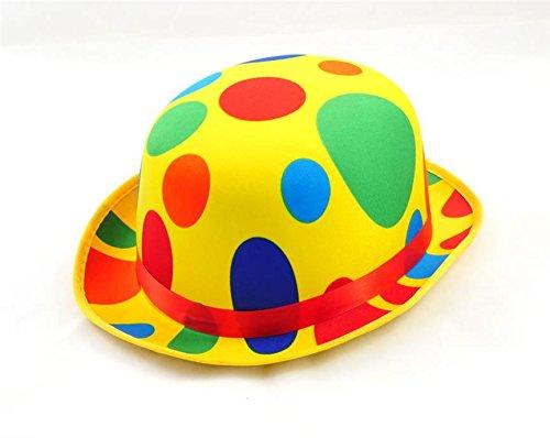 GIRM - S6749 Cappello di plastica da Clown Giallo a Pois Colorati, Cappello per Clown, Cappello Clown Carnevale, Cappello Clown Pois, Cappello Clown colorato, Cappello Giallo a Pois, Cappello Clown
