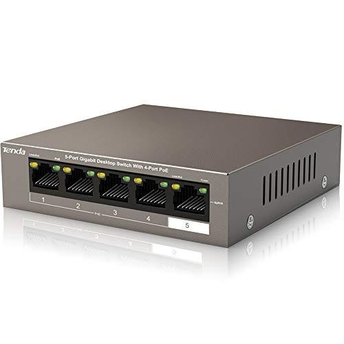 Tenda Poe Switch Gigabit 5-Port 10 100 1000 Mbps, Fino a 30W per Ogni Porta Poe e 58W per Tutte Le Porte Poe, 4 Porte Poe, Nessuna Configurazione Necessaria (TEG1105P-4-63W), Cassa in Metallo