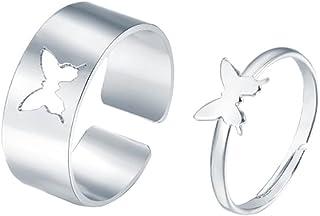 Aukmla Paar Ringen Zilveren Vlinder Ring Set Vriendschap Vlinder Paar Ring Set Bruiloft Verstelbare Vingerringen voor Vrou...
