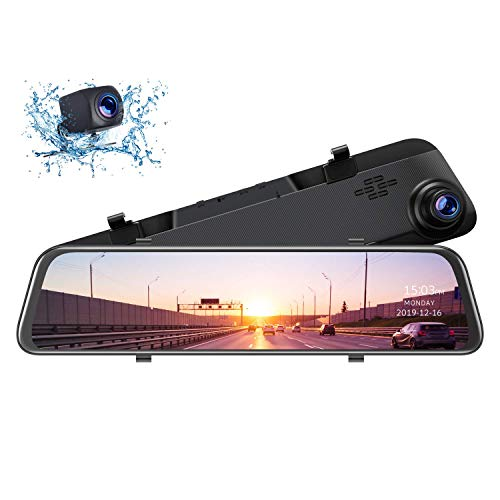 TOGUARD 12' 2.5K Mirror Dash Cam for Cars GPS Voice Control Rear View Camera Touch Screen Front and...