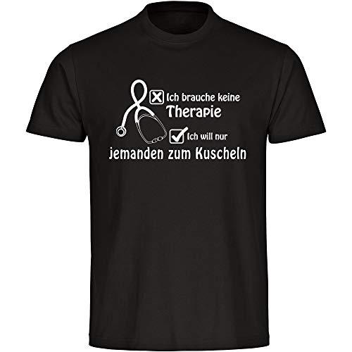 T-shirt Ik heb geen therapie ik wil alleen iemand om te knuffelen zwart heren maat S tot 5XL - grappig grappig spreuken party funshirt