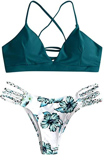 CheChury Mujer Sexy Conjunto De Bikini Verano Sexy Push Up Ropa De Playa Bikini de Triángulo Estampado Bohemio Dividido BañAdores con Relleno Tops y Braguitas Mujer Brasileños Bikinis