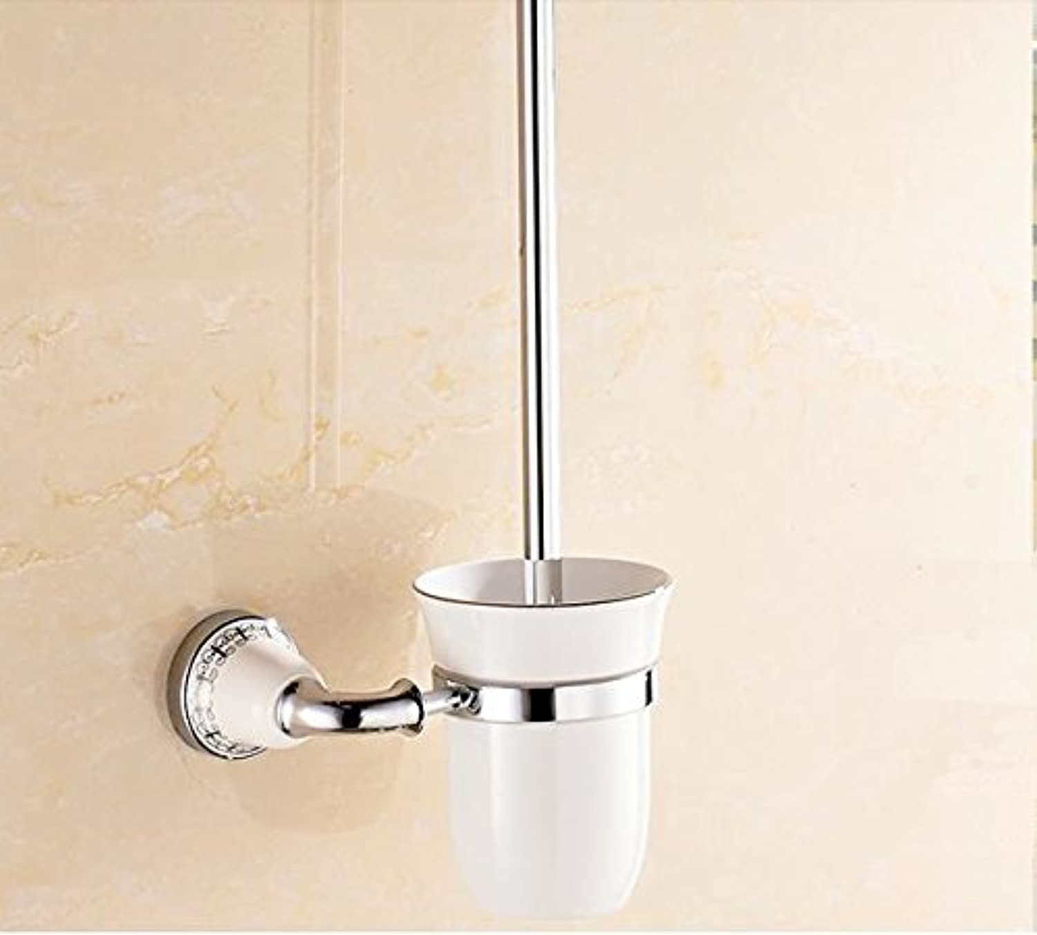 TACCY Bathroom Toilet Brush with Frosted Glass Cup and Brass Holder in Chrome Finish  MK01C