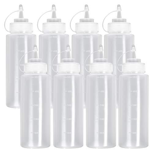 8 Pack Biberon Salsas con Tapas de Rosca, 500ml - Dispensador de Botellas de Plástico para Condimentos Ketchup Mostaza Vinagre Salsa Aceite - a Prueba de Fugas y Libre de BPA