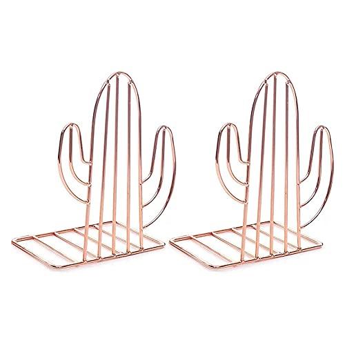 YAOLAN 1 Pares Sujetalibros de Metal con Forma de Cactus, Antideslizante Apoyalibros para Estanterías Bibliotecas Oficinas Escuelas Casas, Oro Rosa