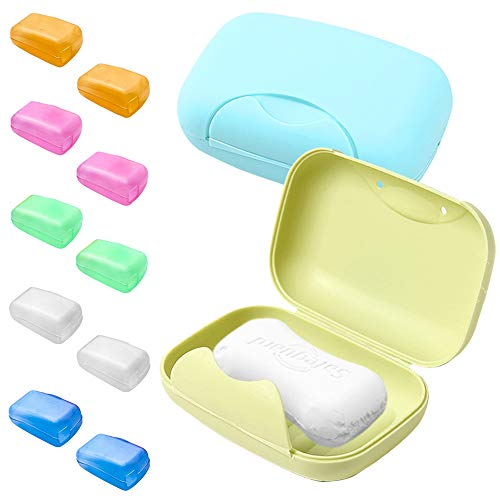 SENHAI 2 soportes para jabonera y 10 fundas para cabezales de cepillo de dientes, jabonera con fundas, funda protectora para cepillo de dientes para viajes, hogar, actividades al aire libre
