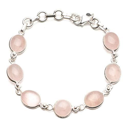 925er Sterling Silber Rose Quartz Einzigartig Handgefertigt Armbänder 19,05cm Pink R2606